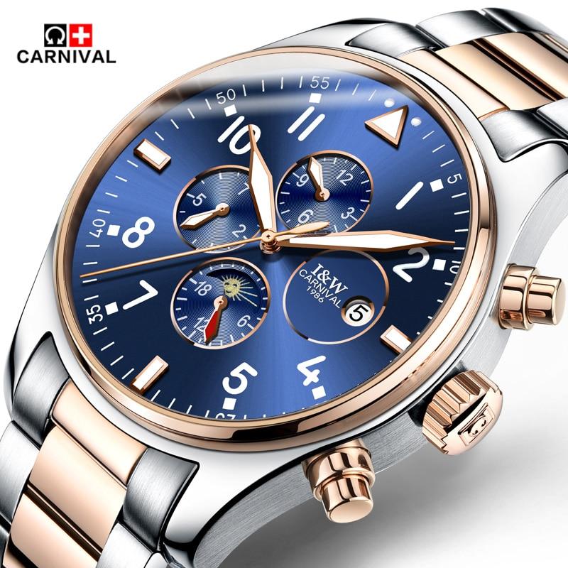 2017 Famous Brand Carnival Luxury Fashion Vintage Steel Stainless Black Dial Men Mechanical Skeleton Watch For Men Wristwatch