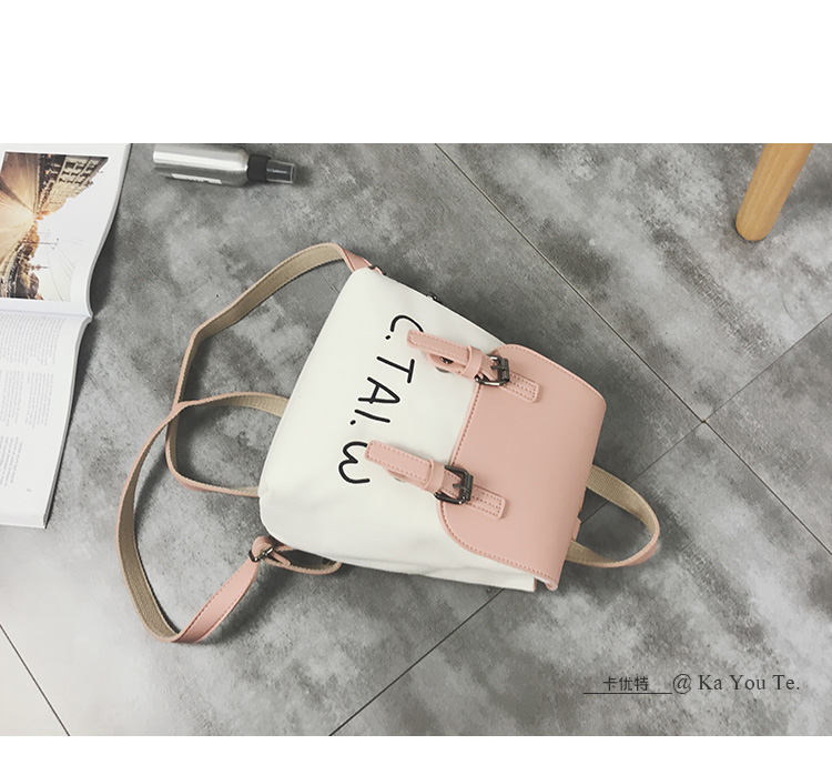 2018 new women's bag fashion canvas backpack female Korean version of the campus Laptop backpack ins casual personality package 77