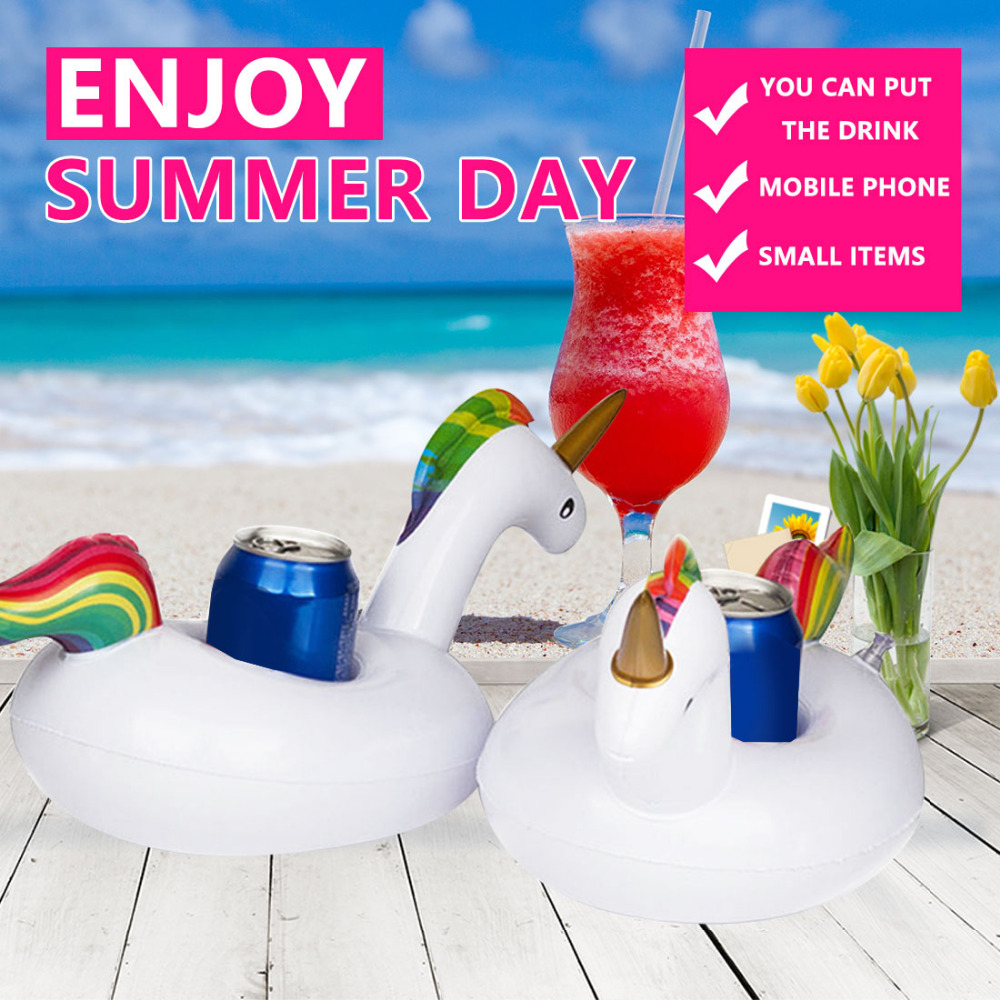 Pool Drink Holders Baby Pool Toys Inflatable Mini Party Beverage Boats Holder Unicorn Floating Cup Holder Swim Ring Water Toys