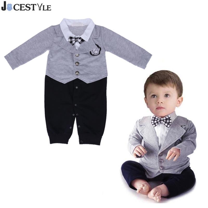 Newborn Baby Boy Romper Cotton Tie Gentleman Suit Bow Leisure Body Suit Clothing Infant Jumpsuit Baby Wedding Suit Party Clothes
