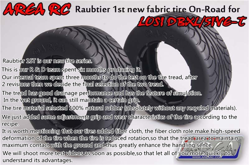 Area RC Raubtier 1st new fabric tire ON-Road tire for Losi DBXL/LOSI 5IVE-T area rc rear hub carrier for losi 5t 5ive t