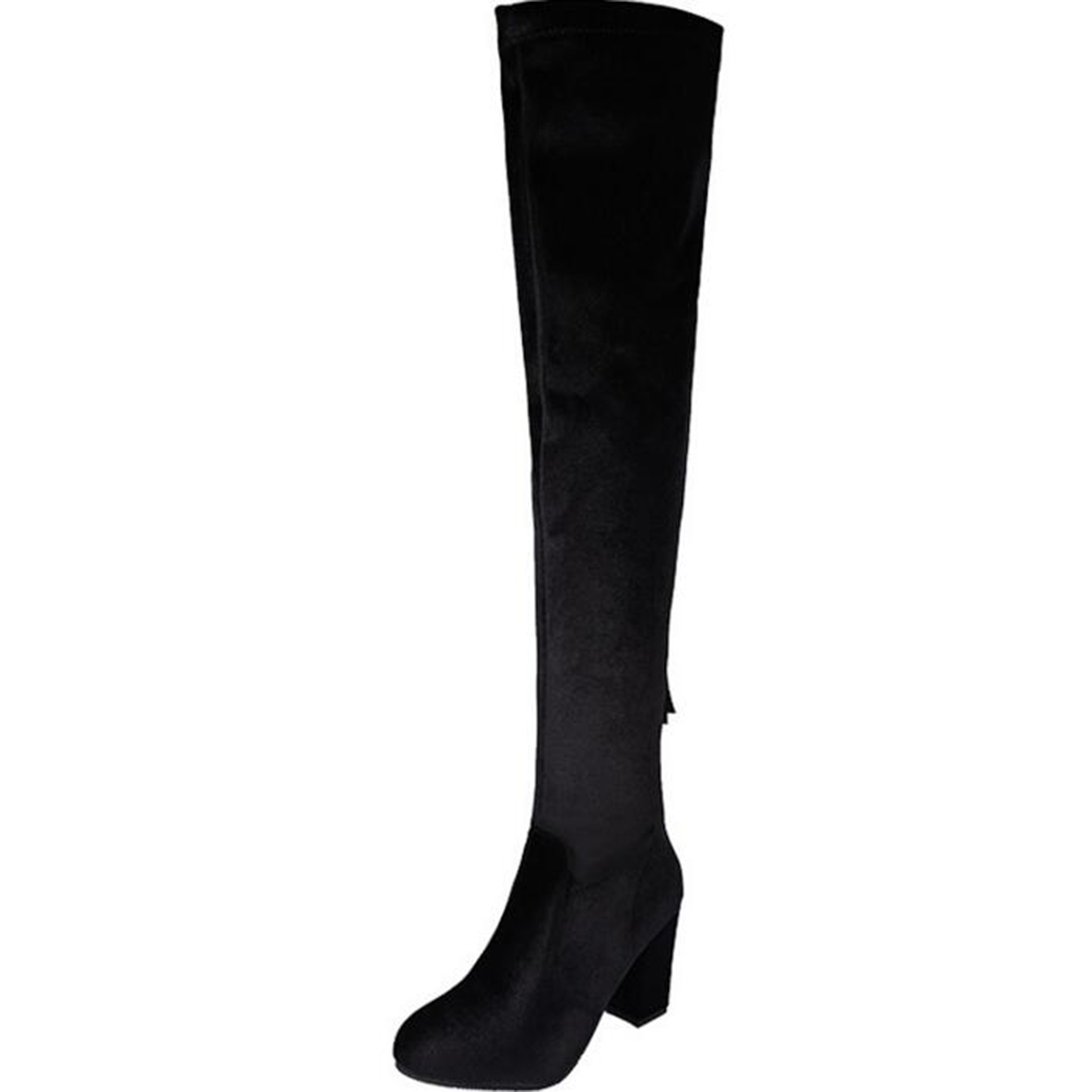 Womens Velvet Round Toe Over Knee Boots High Heel  Stretch Suede Over the Knee Boots Fashion Slim Thigh High Boots Plus Shoes high heel real leather pointy suede slim thigh women boots stretch velvet over the knee sexy extreme stiletto shoes sheepskin