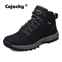 Cajacky Men Snow Boots Big Size 39 46 Genuine Leather Men Winter Boots Warm Plush Fur