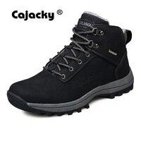Cajacky Men Snow Boots Big Size 39 46 Genuine Leather Men Winter Boots Warm Plush Fur