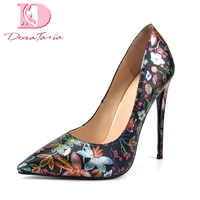 DoraTasia 2018 flowers print large Size 34 42 dropship sexy Party pumps women Shoes Thin High Heels elegant shoes woman