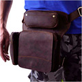 New Top Quality Genuine Real Leather men vintage Brown Small Belt Bag Waist Pack Drop Leg Bag 3108