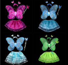 free shipping Hot Butterfly Wing Wand Headband Tutu Skirt Cosplay Costume For Fairy Girl Kid 8 colors free size