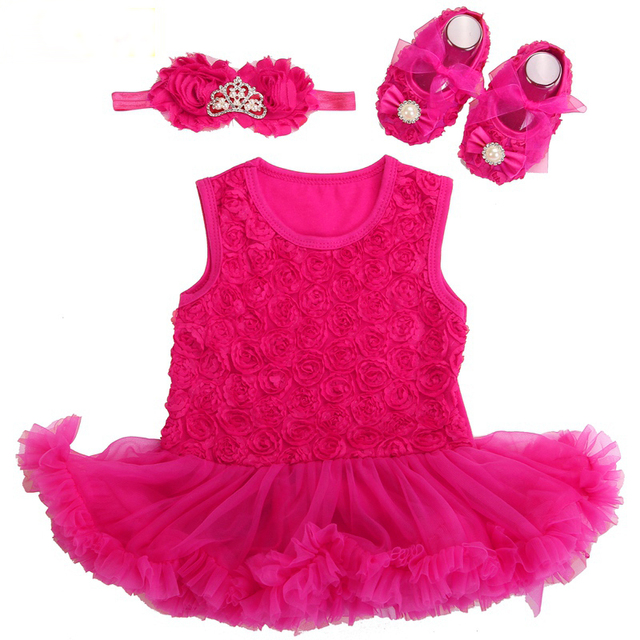 3a04d6bdf15c9 US $9.99 49% OFF|Baby Girl Dress Shoes Baby Headband Set,Vestido Ropa Bebe  Menina,Newborn Baby Girl Clothes Set,infant toddler Girl clothing 2017-in  ...