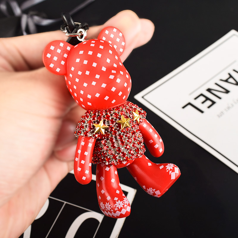 Cartoon Bomgom Popobe Gloomy Bear Keychain Car Key Chain Ring Holder For Charm Rhinestone Violence Bear Bag Pendant Handbag