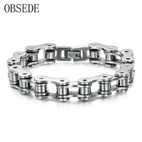OBSEDE Charm Man Jewelry Biker Bicycle Motorcycle Chain Stainless Steel Men S Bracelets Bangles Fashion Male