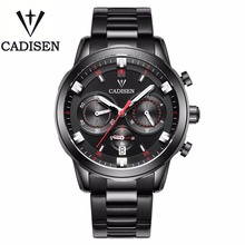 Cadisen 2016 Heren Horloges Top Brand Luxe Volledige Kalender 3Atm Sport Horloges Voor Mannen Klok Rvs Horloges Mannen