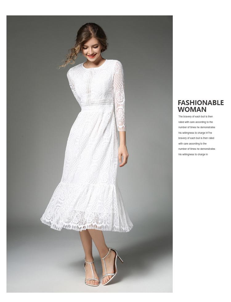 Elegant Women Long White Lace Dress Vetement Femme 2017 Robe Longue Ladies Summer Maxi Dress Dames Jurken K942578 6