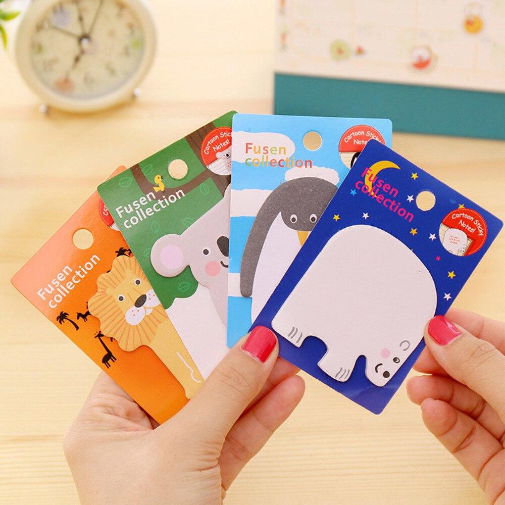 Student 4 pcs/lot Cute Kawaii Cartoon Memo Pad Writing Pads Lovely Animal Post It Note For Kids Korean Stationery 2588 WJ-BJB-5/