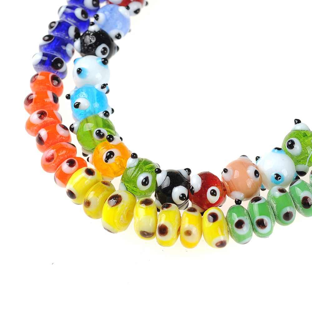 Multicolor Round Rondelle Evil Eye Beads Lampwork Glazed Glass Spacer Beads for Bracelet Necklace DIY Jewelry Making Wholesale