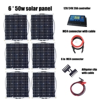 6pcs Mono 50w Solar Panels Modules with 12V/24V Controller and MC4 Connectors Cables House Use Off Grid Solar Power System