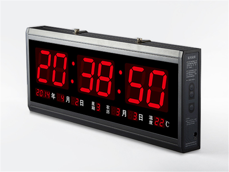Ht4819sm 4 free shipping aluminum large digital led wall Digital led wall clock