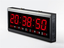 HT4819SM 4 Free Shipping Aluminum Large Digital LED Wall Clock Big font b Watch b font