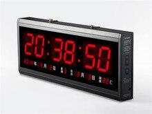 HT4819SM-4,Free Shipping,Aluminum Large Digital LED Wall Clock ,Big Watch Modern Design,Digital clock! Led electronic calendar