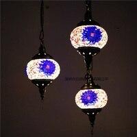 3 головки Новая Турция этнические обычаи ручной работы лампы романтический кафе ресторана бара дерево подвесной светильник бар мозаика под