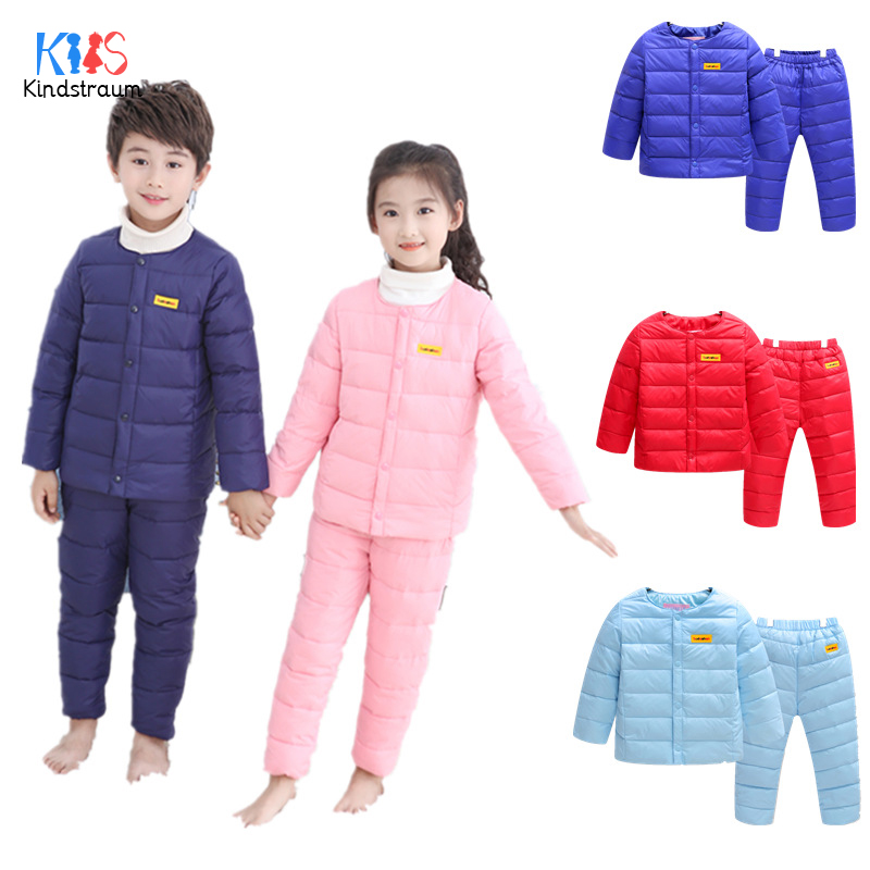 Kindstraum 2018 New Boys Duck Down Suits Girls Thick Coats + Pants Wear Winter Soild Warm Sets for Kids,RC1670 fancytrader new style giant plush stuffed kids toys lovely rubber duck 39 100cm yellow rubber duck free shipping ft90122