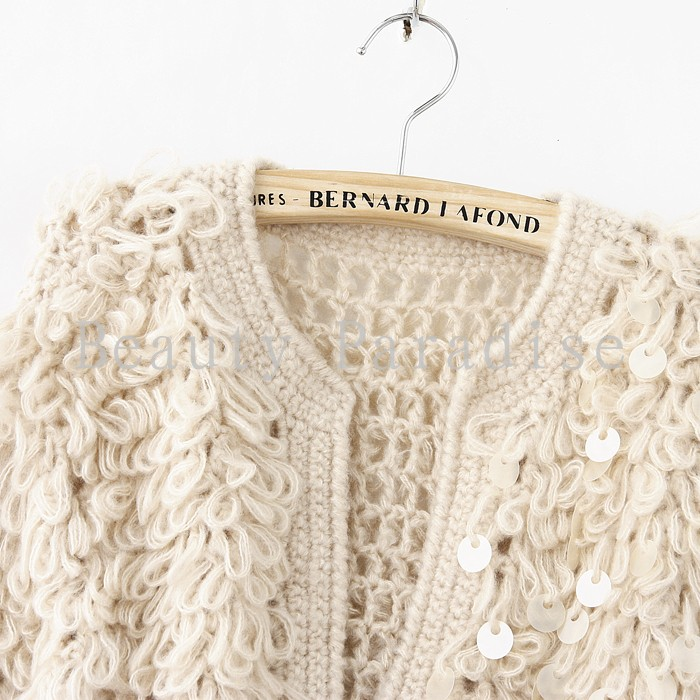 Aliexpress.com  Buy Handmade Crochet Cardigan Women 2017 Autumn Winter  Fashion Vintage Sequined Knit Short Wool Sweater Coat Blusas Femininas 5069  from