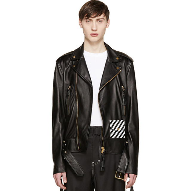 OFF WHITE Faux Leather Men Short Jackets 2016 New Fashion Brand Design Vintage Hi-Street man coat Slim Fit Hombre Biker Coats