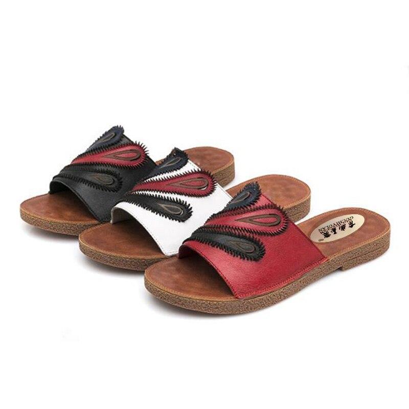 Здесь продается  sandalias mujer 2018women cow genuine leather flat sandals summer shoes feminine fashion punk leather ladies sandals and slipper  Обувь