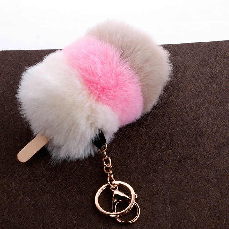 1 pc Trinket Keychain Chaveiros Chaveiro De Pele Pompons Fofo Chaveiro para Carros Chaveiros Bugigangas Sorvete Pom Pom keychain Novo