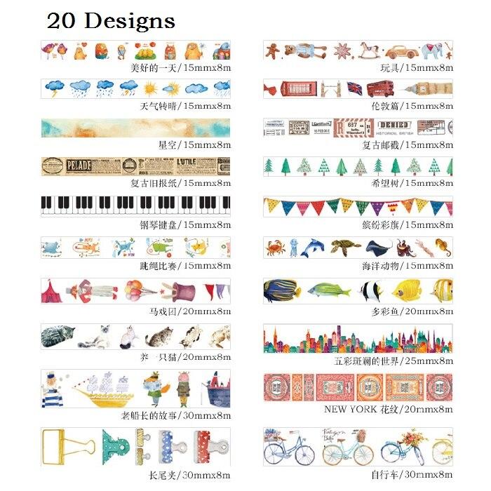 20Designs 15/20/30mm*8M Fruit /Fish /Cake /Vegetables/Popsicle Pattern Japanese Washi Decorative Adhesive DIY Masking Paper Tape