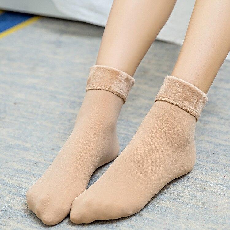 winter 2018 cylinder with cashmere socks female snow warm socks