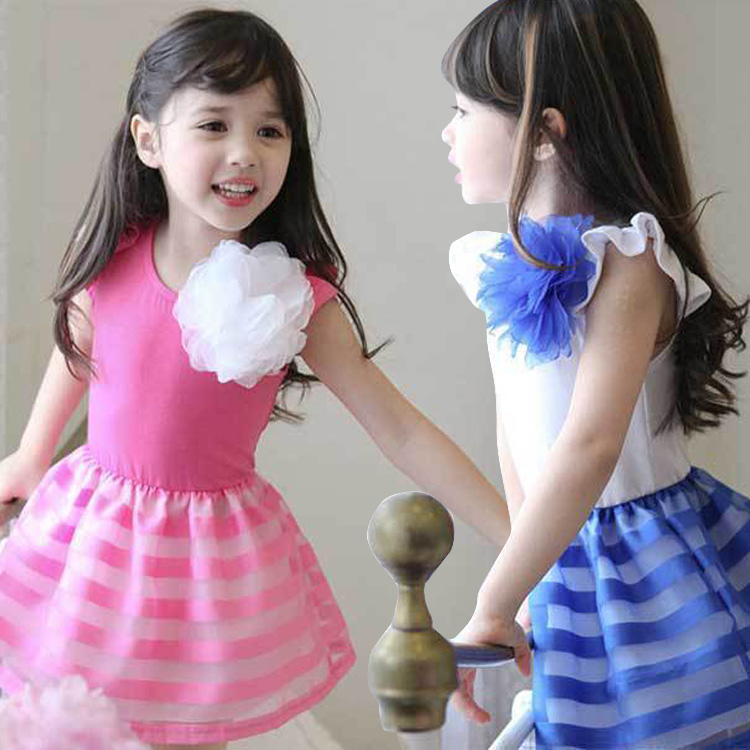 2016 Summer Baby Girl Sleeveless Stripe Princess Dresses Children Flowers Girl Evening Party Tutu Dress Kids Casual Clothes