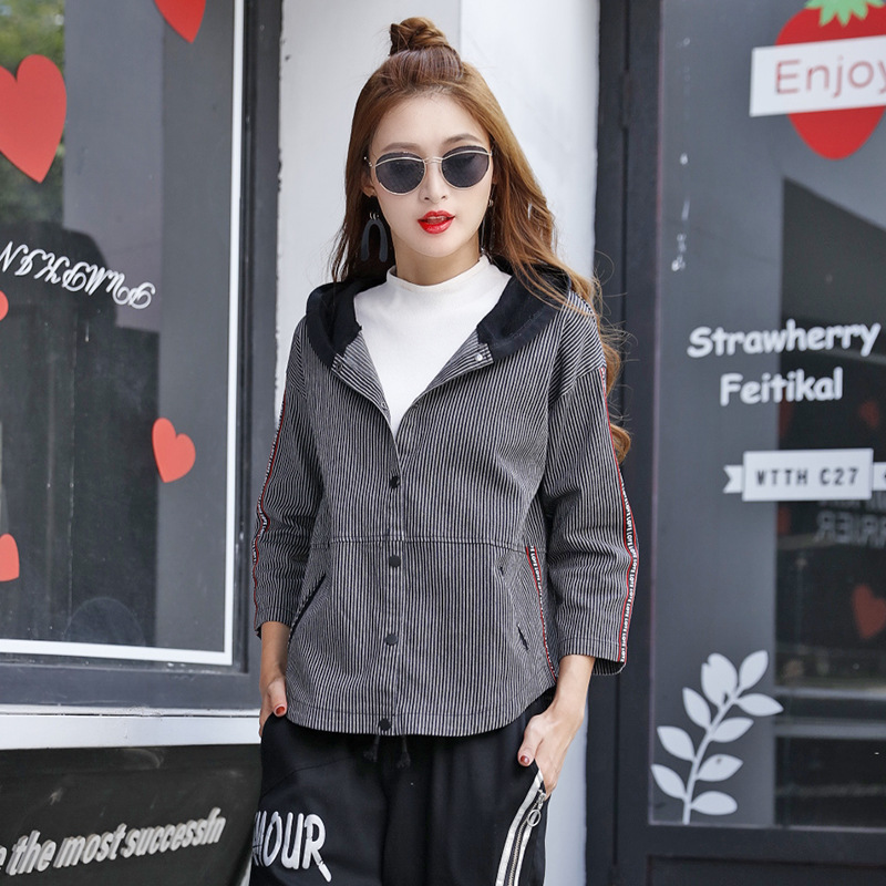 Dark Autumn Jacket Hip Cool Denim Sleeve Full A81z20 Loose Ladies Coat Fow Hop Woman Patchwork Students 8282 8282 Blue 8282 Rave 8282 Punk xwq0St8K