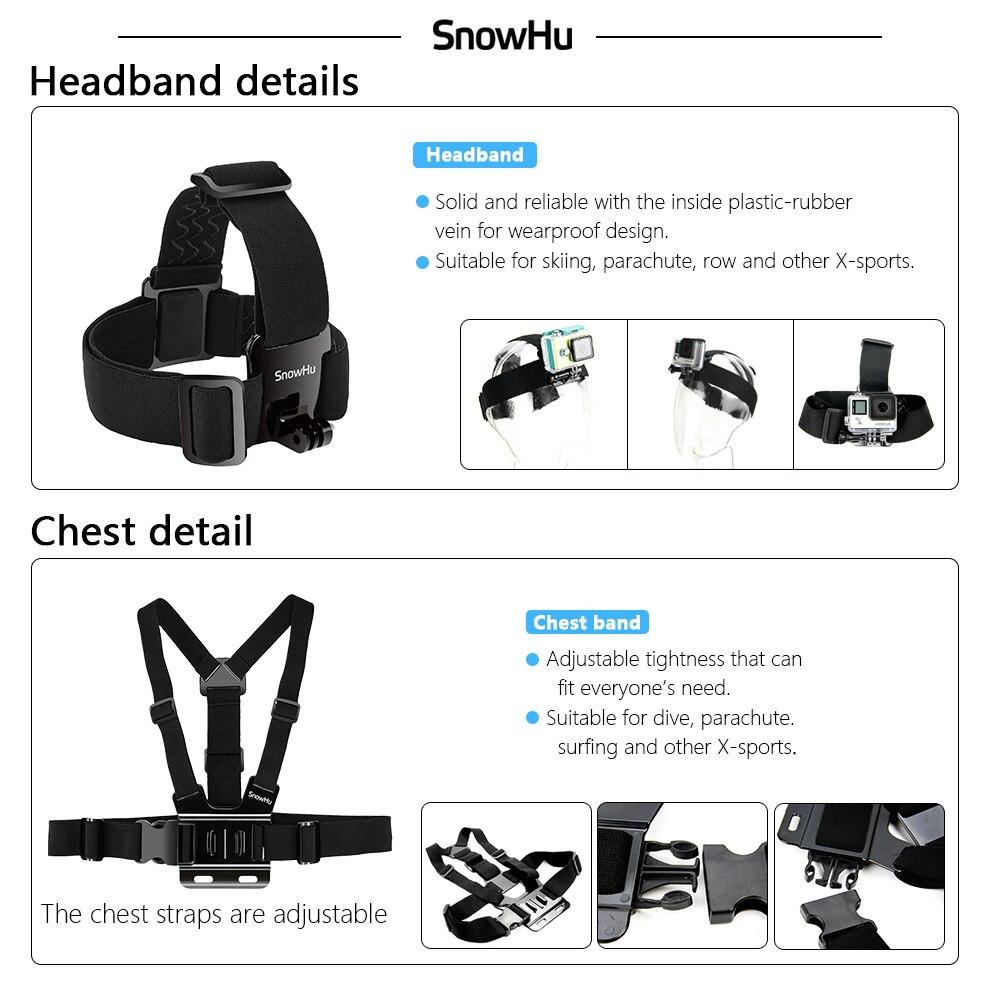 SnowHu para Gopro accesorios para ir pro hero7 6 5 5S kit tres selfie palo para Eken h9 xiaomiyi 4 K caso de EVA GS18 - 5