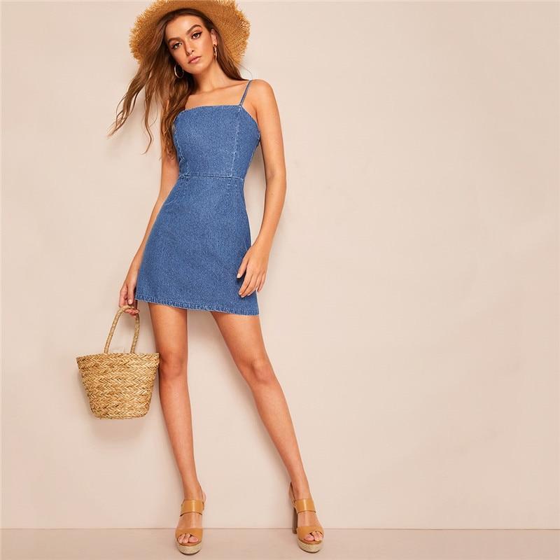 1b68145aa298 SHEIN azul Zip Back Sexy camisola Denim Mini vestido mujer sólido sin  mangas alta cintura ajustable ...