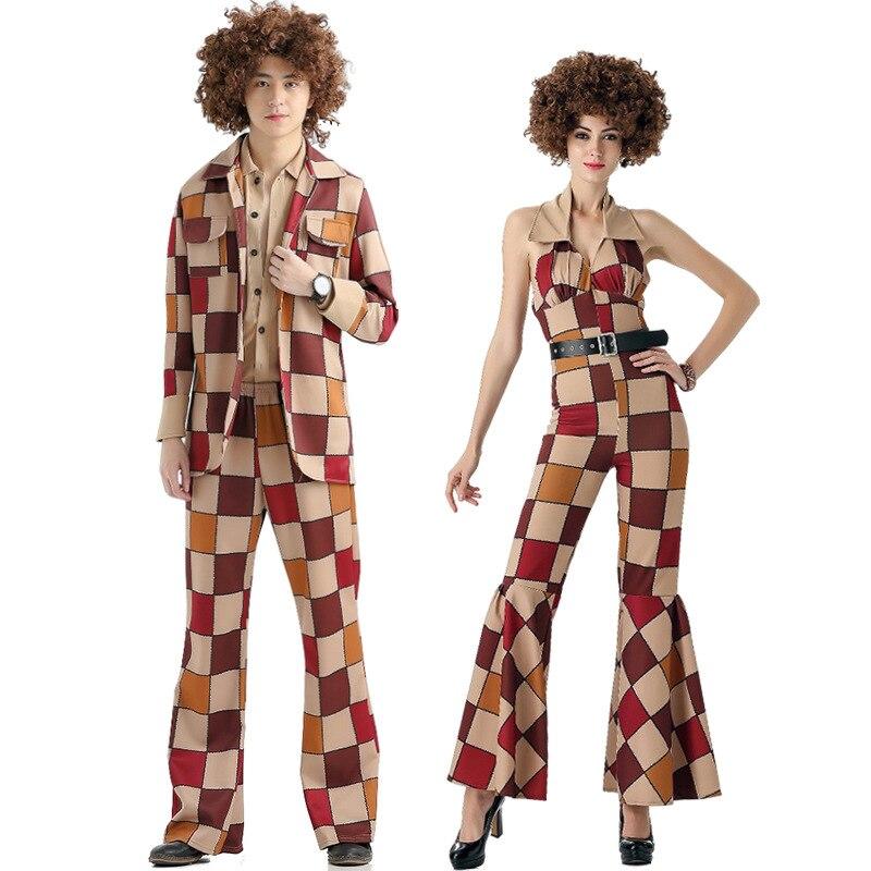 Adulte 60 s 70 s rétro Hippie Hip Hop chanteur Costume Cosplay pour femmes hommes Couple fantaisie robe tenue Pop musique Club Costume