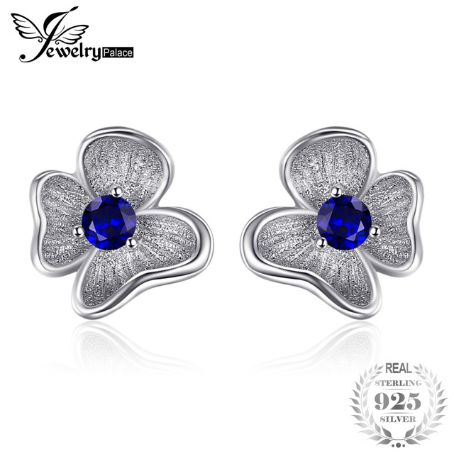 JewelryPalace Flower 0.3ct Created Blue Sapphire Stud Earrings 925 Sterling Silv
