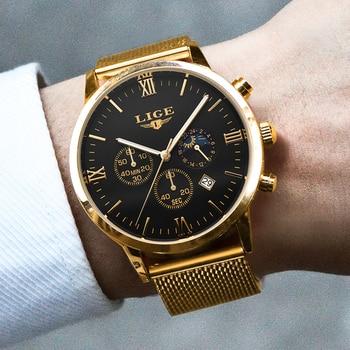 Top Luxury  Business Gold Quartz Casual Mesh Steel Waterproof Sport Watch  1