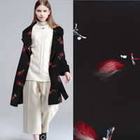 Fashion Woolen Fabric For Coat Women Clothes Dragonfly Pattern Thick Wool Cashmere Fabric Windbreaker Fabric Sewing