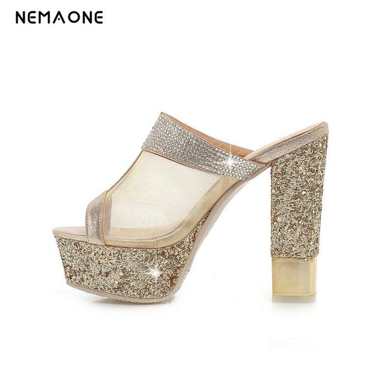 NEMAONE 2017 New sexy high heels sandals women shiny glitter women slippers peep toe party shoes woman transparent summer shoes
