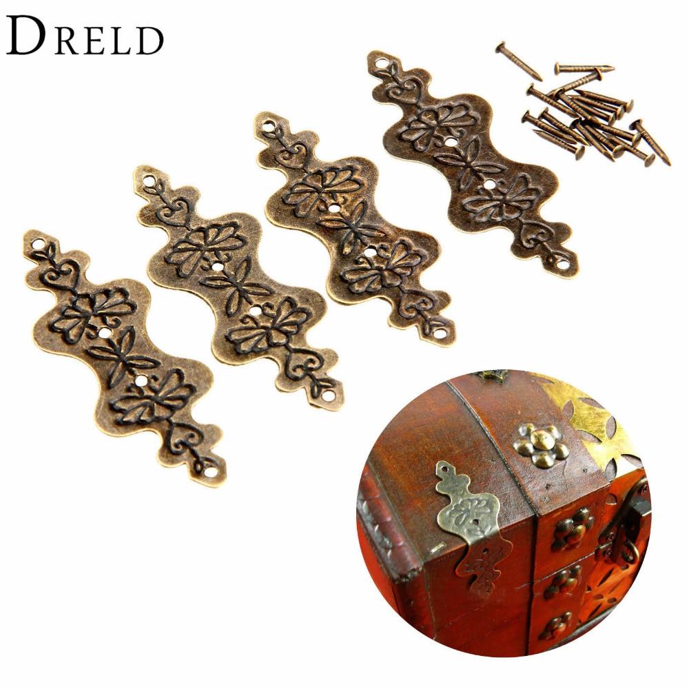 DRELD 4Pcs Antique Brass Corner Bracket Jewelry Box Wood Case Decorative Feet Leg Corner Protector Furniture Fittings 56x20mm
