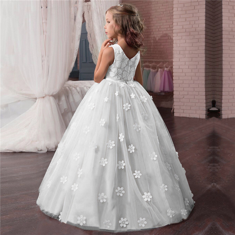 Summer Baby Girls Flower Dress Sleeveless Lace Bridesmaid Children Dresses Kids Formal Princess Patry Clothes 3-14 Years