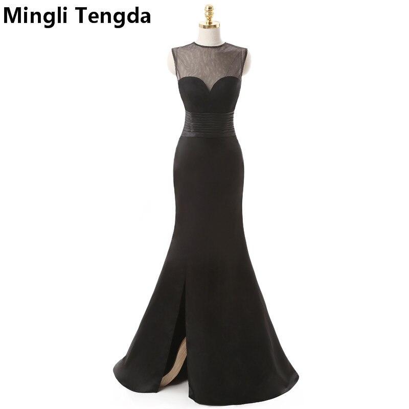 2017 charme noir longues robes De soirée Sexy côté fourchette voir à travers la Robe De soirée longue Abendkleider Robe De soirée Mingli Tengda