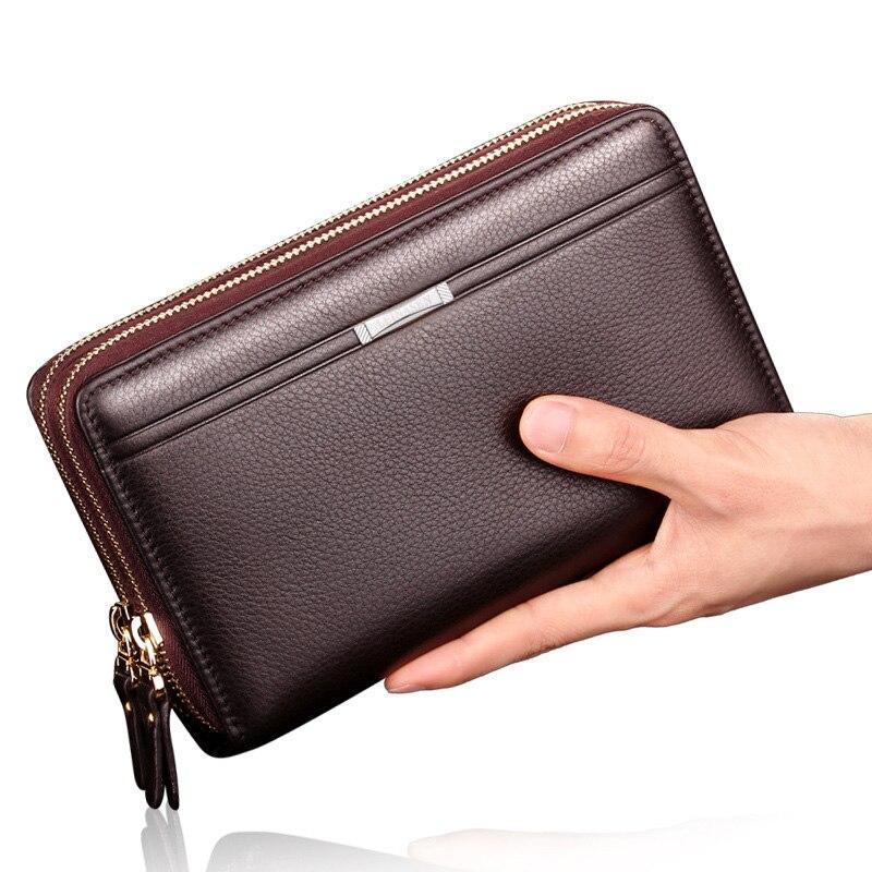 2017 New Business Men Wallets Long PU Leather Cell Phone Clutch Purse Handy Bag Black Top Zipper Large Wallet Purse trendy pu leather pouch bag for cell phone gadgets black