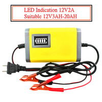 1 Adet 12 V 2A Yeni Taşınabilir Adaptörü Şarj Edilebilir Kurşun Asit Şarj güç Kaynağı 12 V 2A ABD Plug AB Ile Motosiklet Şarj adaptörü