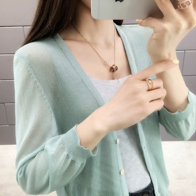 2019 New spring and summer summer female knit iced silk v-neck cardigan jacket with semi-permeable Price $11.60