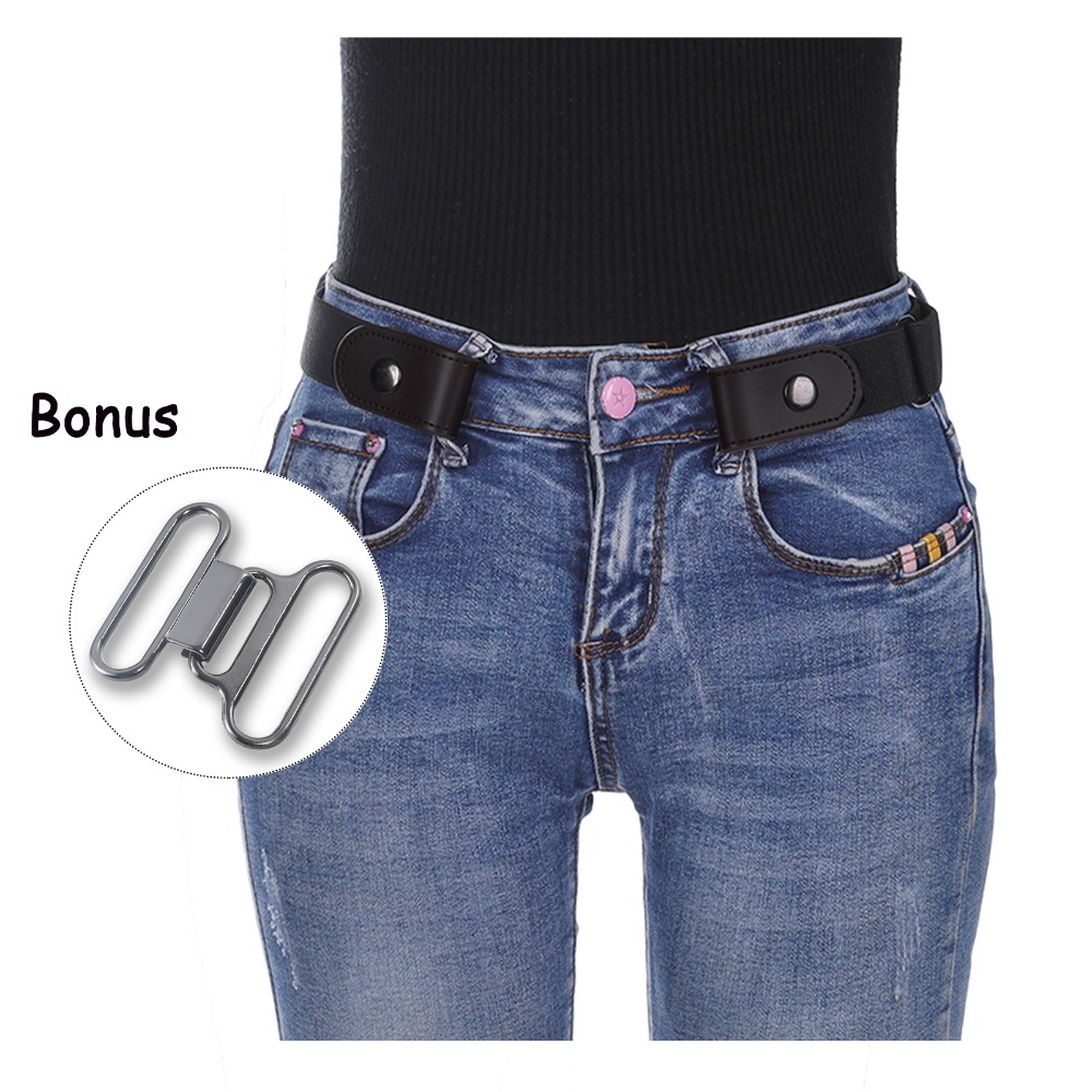 AWAYTR Unisex No Buckle Belt For Women Men 2 Sizes Elastic Belt For Jeans Pant Belt Without Buckle Stretch Waistband No Buckle