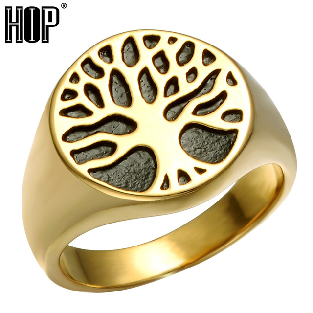 HIP Punk Gold Color Titanium Stainless Steel Wisdom Tree Tree Of Life Rings For Men Jewelry Size 8-12