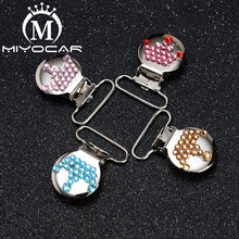 MIYOCAR beautiful bling crown round shape pacifier clip  holder good quality handmade material SP026