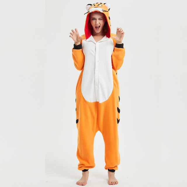20b1315d350 Soft Bengal Tiger Kigurumi Animal Adult Onesie Orange Pajamas For Sister Women  Cosplay Unisex Sleepwear Stage Halloween Costume
