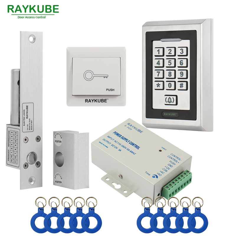 RAYKUBE Glass Door Access Control Kit Electric Bolt Lock + Metal RFID Reader Keypad For Glass Door Frameless raykube door access control kit set electric bolt lock touch metal frid reader for office glass door